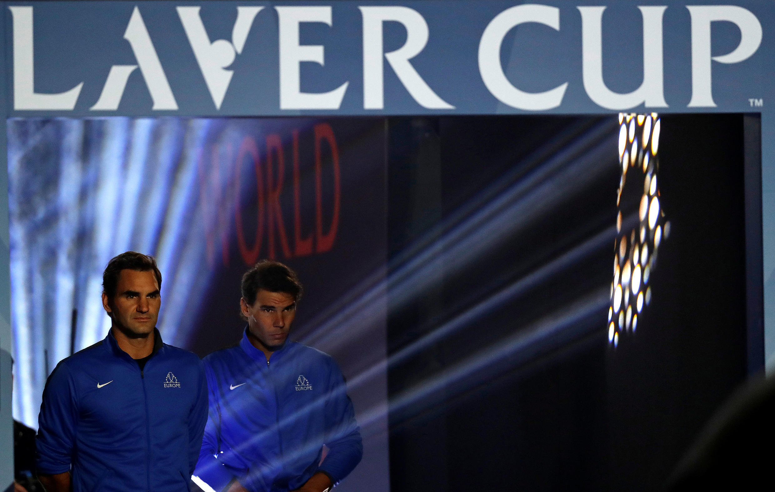 Roger Federer (left) and Rafael Nadal are the top two players in the Europe team playing in the inaugural edition of the Laver Cup in Prague.