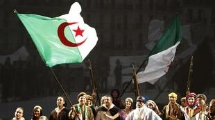 Algerian actors reenact the Algerian war against France during the celebration of the 50th anniversary of their independence