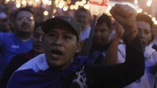 Manifestación pidiendo la dimisión del presidente de Honduras Juan Orlando Hernández en Tegucigalpa el 5 de junio pasado.