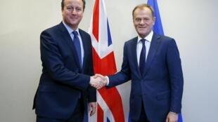Le Premier ministre britannique David Cameron (à gauche) aux côtés du président du Conseil européen Donald Tusk, le 18 février 2016.