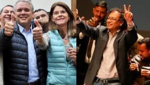 Image composée: Ivan DUQUE et Gustavo PETRO durant la campagne électorale en Colombie en juin 2018