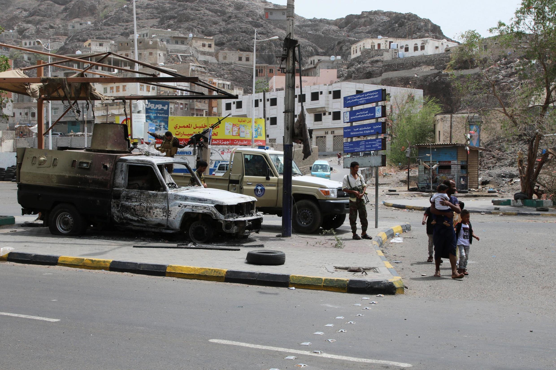 Une photo d'une rue d'Aden après les affrontements entre séparatistes soutenus par les Émirats et les loyalistes appuyés par l'Arabie saoudite. Le 12 août 2019.
