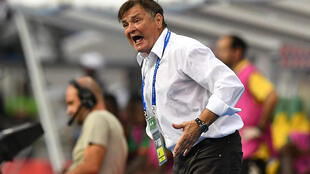 Gabon's Spanish coach Jose Antonio Camacho reacts during the 2017 Africa Cup of Nations group A football match between Gabon and Burkina Faso at the Stade de l'Amitie Sino-Gabonaise in Libreville on January 18, 2017.