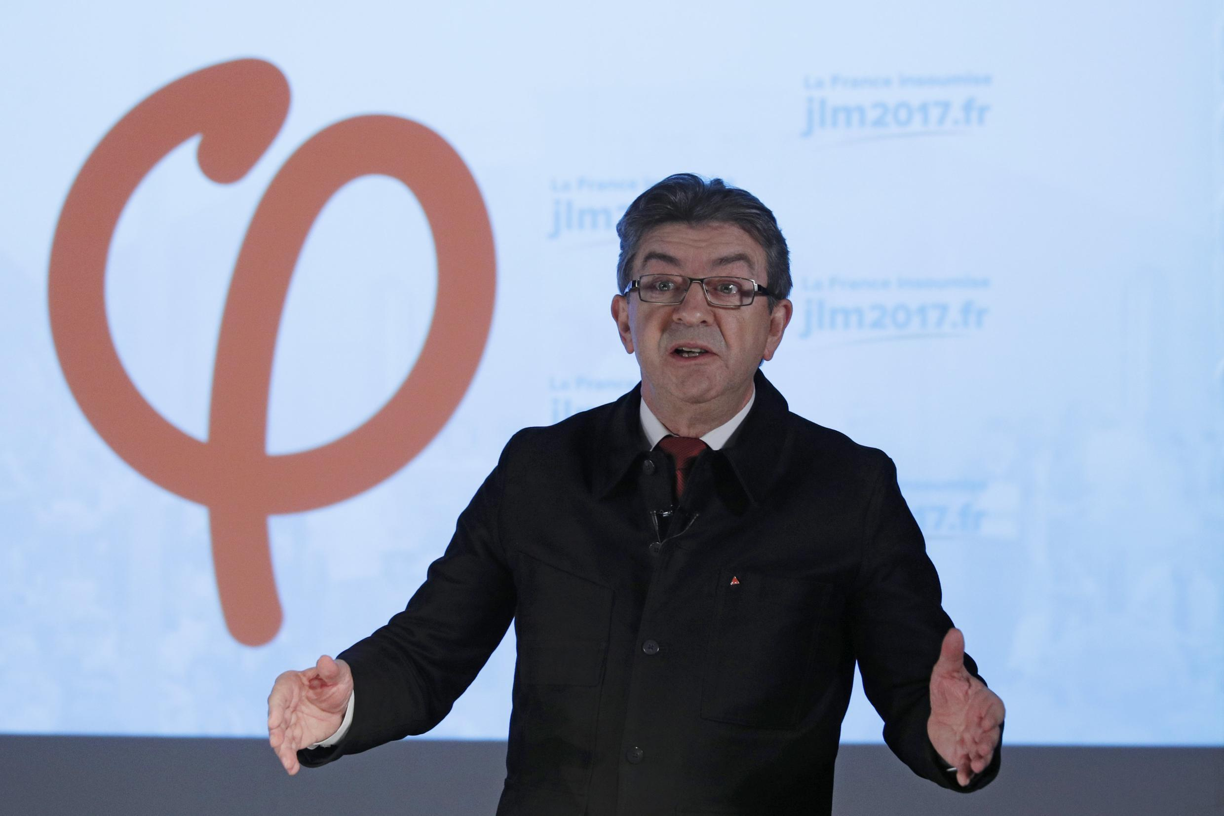 Jean-Luc Mélenchon, leader of the far-left party France Unbowed, in 2017