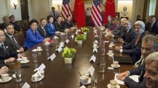 Ảnh tư liệu: Tổng thống Mỹ Barack Obama tiếp đoàn Trung Quốc tham gia Đối thoại Chiến lược Kinh tế Mỹ Trung tại Washington ngày 24/06/2015.