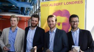 Les lauréats du prix Albert-Londres: Samuel Forey du «Figaro», David Thomson journaliste à RFI, Tristan Waleckx et Matthieu Renier journalistes à France 2, à Paris, le 4 juillet 2017.