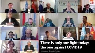Les 15 membres du Conseil de sécurité de l'ONU ont évoqué, en téléconférence, la bataille à livrer contre la pandémie de Covid-19.