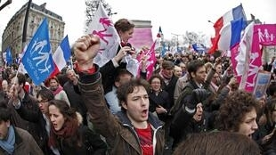 Demonstrators on the Champs Elysees Avenue, 24 March