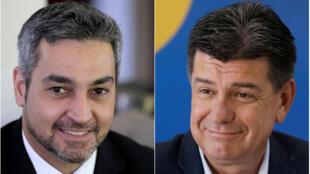 Os candidatos à Presidência do Paraguai, Mario Abdo Benitez (esq.), do Partido Colorado, e Efrain Alegre, da coalizão GANAR, em março de 2018.