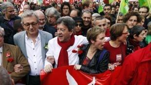 Left Front leader Jean-Luc Mélenchon led Sunday's protest