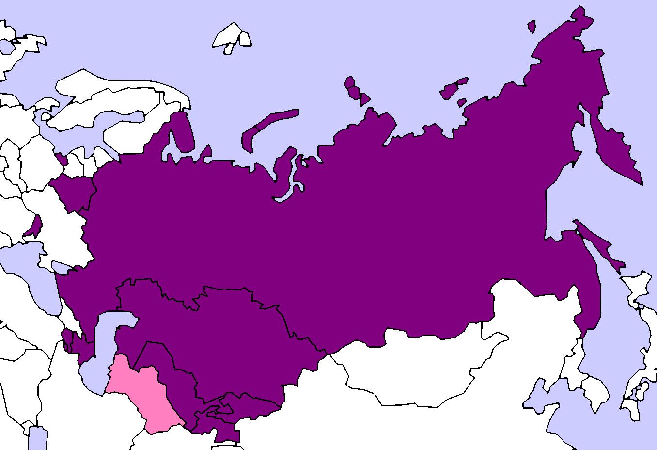 Bản đồ Cộng Đồng các Quốc Gia Độc Lập do Nga lãnh đạo (năm 2018).