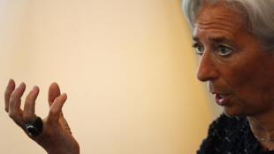 A ministra francesa das Finanças Christine Lagarde durante conferência em Pequim.