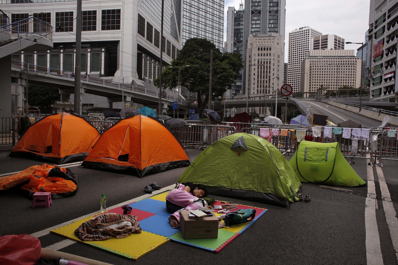 Палатки продемократических манифестантов в Гонконге, 10 октября 2014 г.