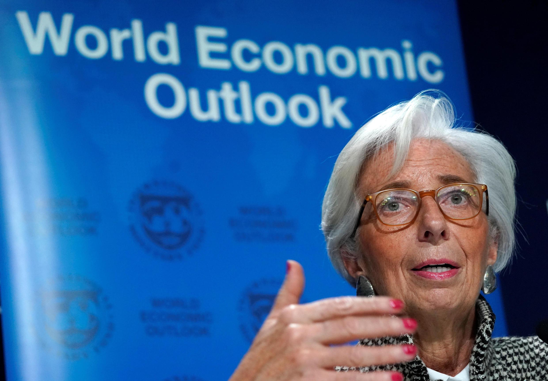 La directrice générale du FMI Christine Lagarde, lors de sa conférence de presse à Davos, le 22 janvier2018.