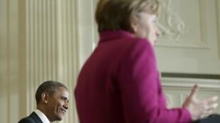 Le président américain Barack Obama et la chancelière allemande Angela Merkel lors de leur conférence de presse, le 9 fevrier 2015.