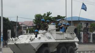 Uma  patrullha da MONUSCO nas  ruas  de Kinshasa , capital da RD. Congo. 20 de Dezembro de 2016