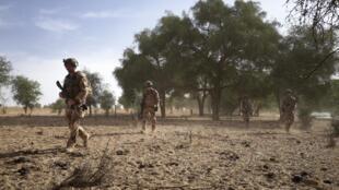 Un groupe de soldats de l'armée française patrouille dans la forêt de Tofa Gala lors de l'opération Bourgou IV dans la région du Sahel au nord du Burkina Faso, le 9 novembre 2019.