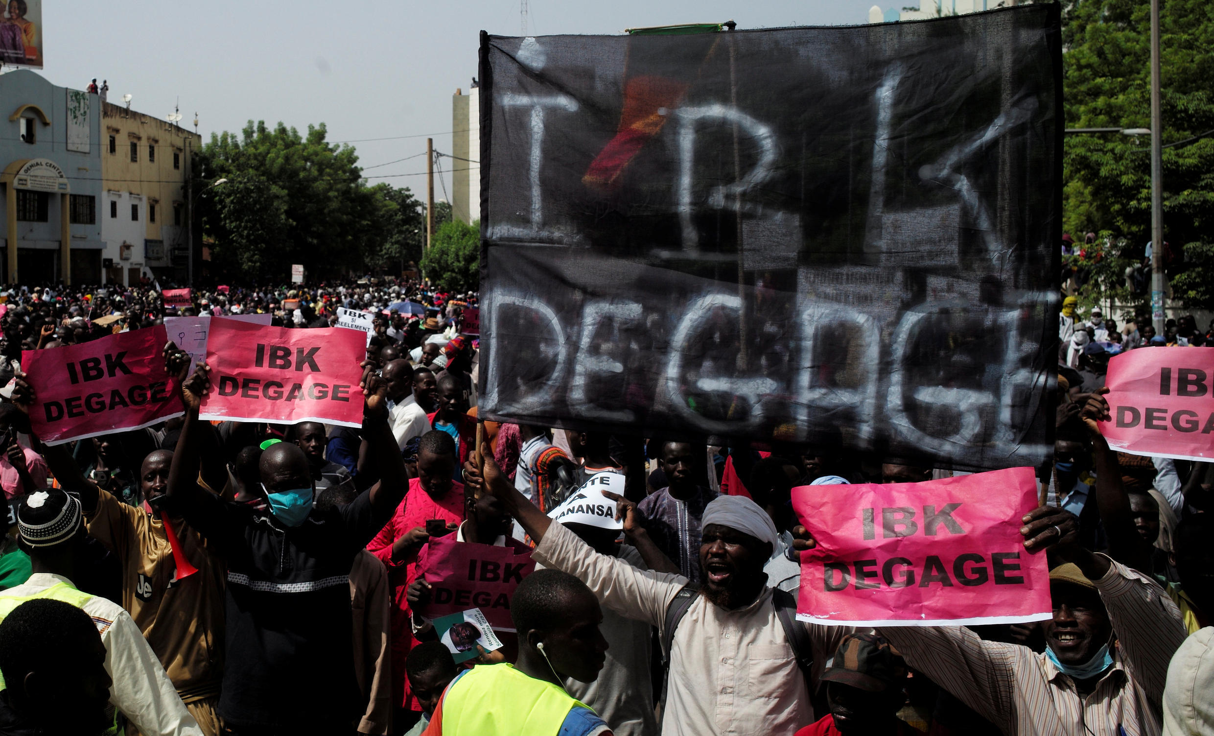 Supporters of the Imam Mahmoud Dicko attend a protest demanding the resignation of Mali's President Ibrahim Boubacar Keita at Independence Square in Bamako, Mali June 19, 2020