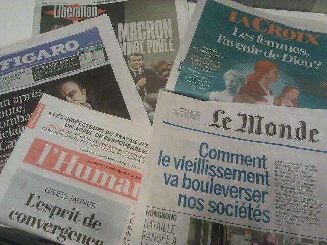 Primeiras páginas dos jornais franceses 18 de novembro de 2019
