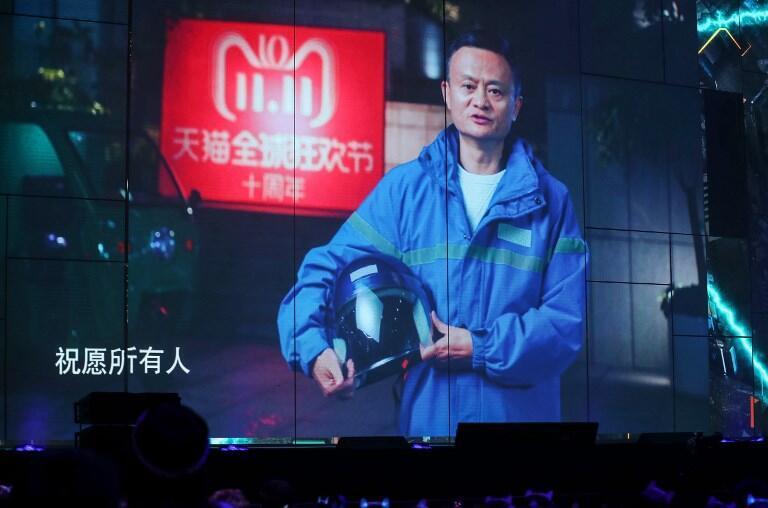 Le célèbre fondateur du groupe chinois Alibaba, Jack Ma, sur les écrans du gala Global Shopping Festival de Shanghai, en novembre 2018.