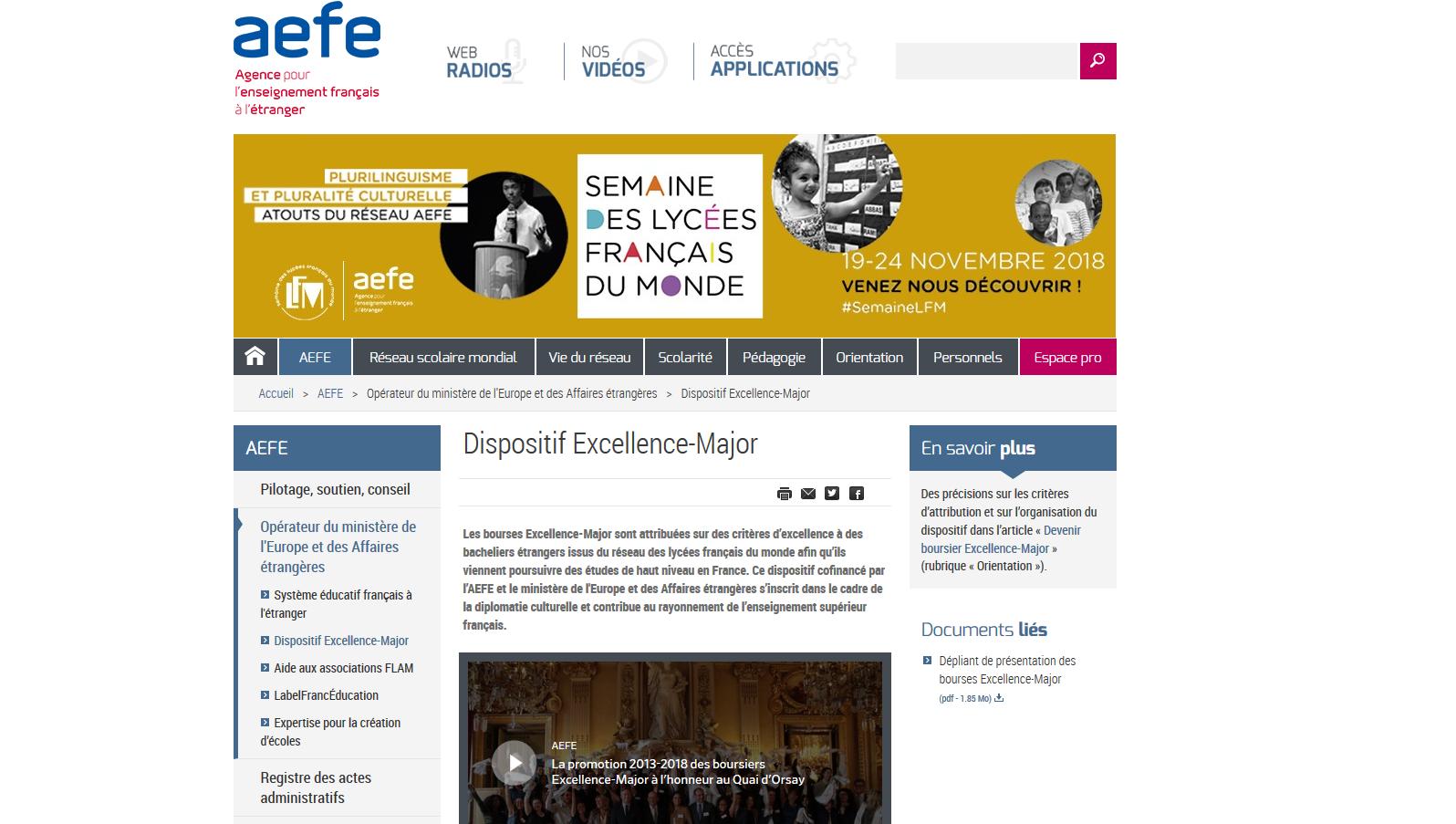 La page d'accueil de sortie de la dernière promotion de ces boursiers, reçus au Quai d'Orsay en juin dernier.