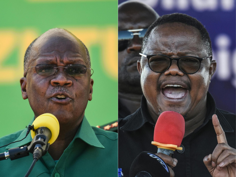 Le président sortant de Tanzanie, John Magufuli (g.) et le candidat du parti d'opposition Chadema à la présidentielle du 28 octobre, Tundu Lissu.