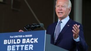 Le candidat démocrate à la présidentielle américaine, Joe Biden, présentant son plan de relance à Dunmore, en Pennsylvanie, le 9 juillet 2020.