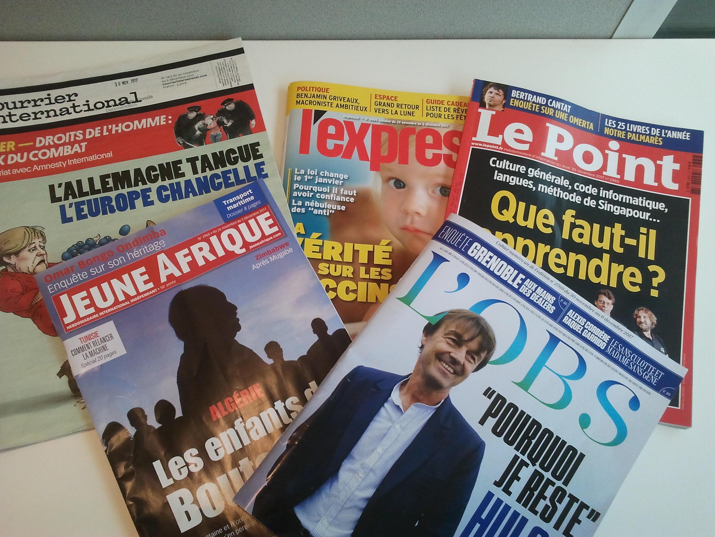 Capas de magazines news franceses de 2 de dezembro de 2017