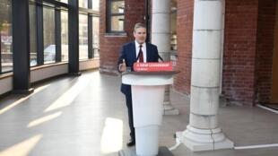 Le leader du Labour Keir Starmer, lors de son discours pendant le congrès virtuel du parti, à Doncaster, le 22 septembre 2020.