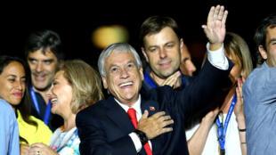 智利当选总统皮涅拉庆祝胜利,2017年12月17日,圣地亚哥