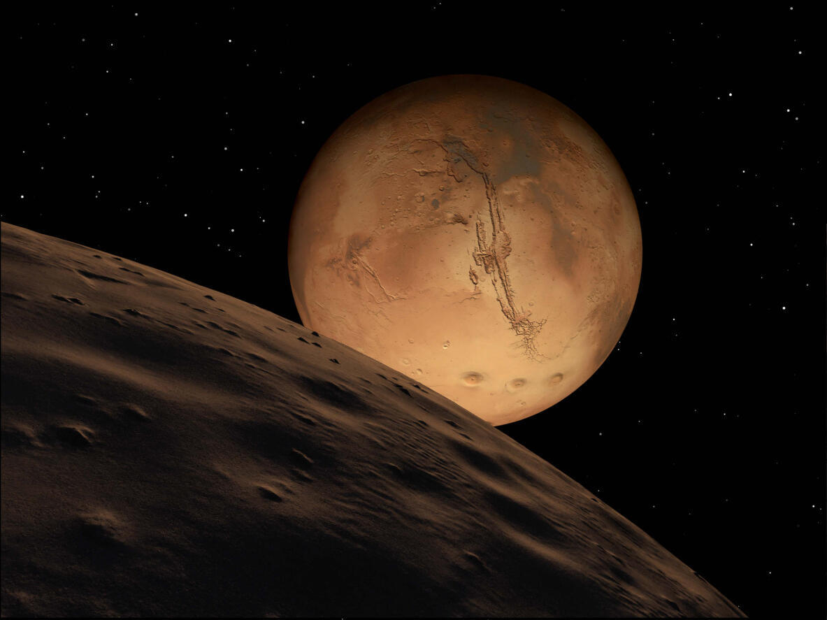 Sao Hỏa nhìn từ mặt trăng - Getty Images /Stocktrek Images