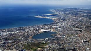 Vue aérienne de Port Elizabeth en Afrique du Sud (illustration).