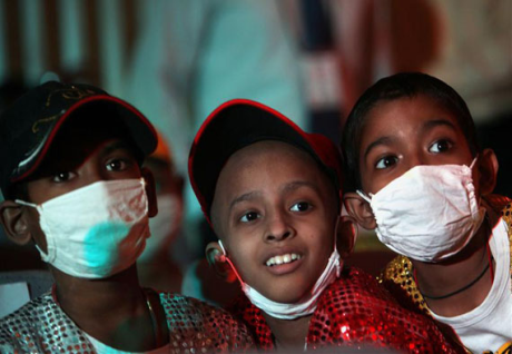 Children with cancer at a hospital in Mumbai