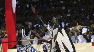 Cérémonie du troisième anniversaire de l'indépendance sud-soudanaise à Juba, le 9 juillet 2014.
