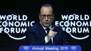 François Hollande au Forum de Davos, le 23 janvier 2015.