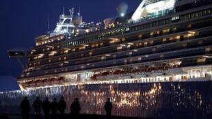 Du thuyền  Diamond Princess ở cảng Yokohama, Nhật Bản. Ảnh ngày 21/02/2020.