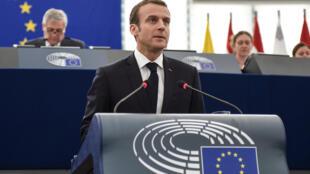 Emmanuel Macron no Parlamento Europeu, Estrasburgo.