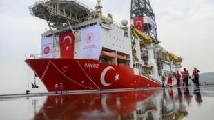 """El buque turco """"Yavuz"""", aquí en el puerto de Divolasi, cerca de Estambul, el 20 de junio de 2019."""