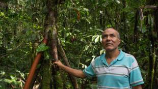Omar Tello dans sa forêt.