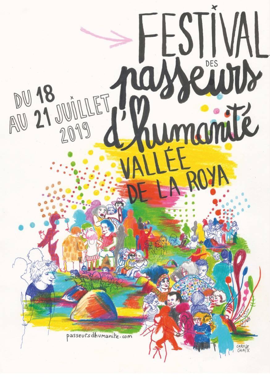 Áp phích lễ hội Passeurs d'humanité ở thung lũng Roya