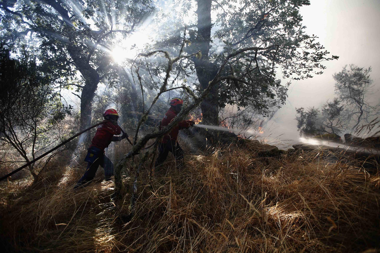 Bombeiros continuam combate contra incêndios florestais em Portugal.