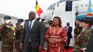 Rais wa DRC, Felix Tshisekedi na mkewe Denise wakiwasili Brussels, Ubelgiji kwa ziara ya kiserikali ya siku tatu, Septemba 16, 2019.