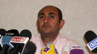 Egyptian independent presidential candidate Khaled Ali at a press conference in Cairo on 21 May 2012