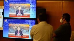 2020年11月20日,中国国家主席习近平在亚太经合组织领导人视频峰会上发表讲话。