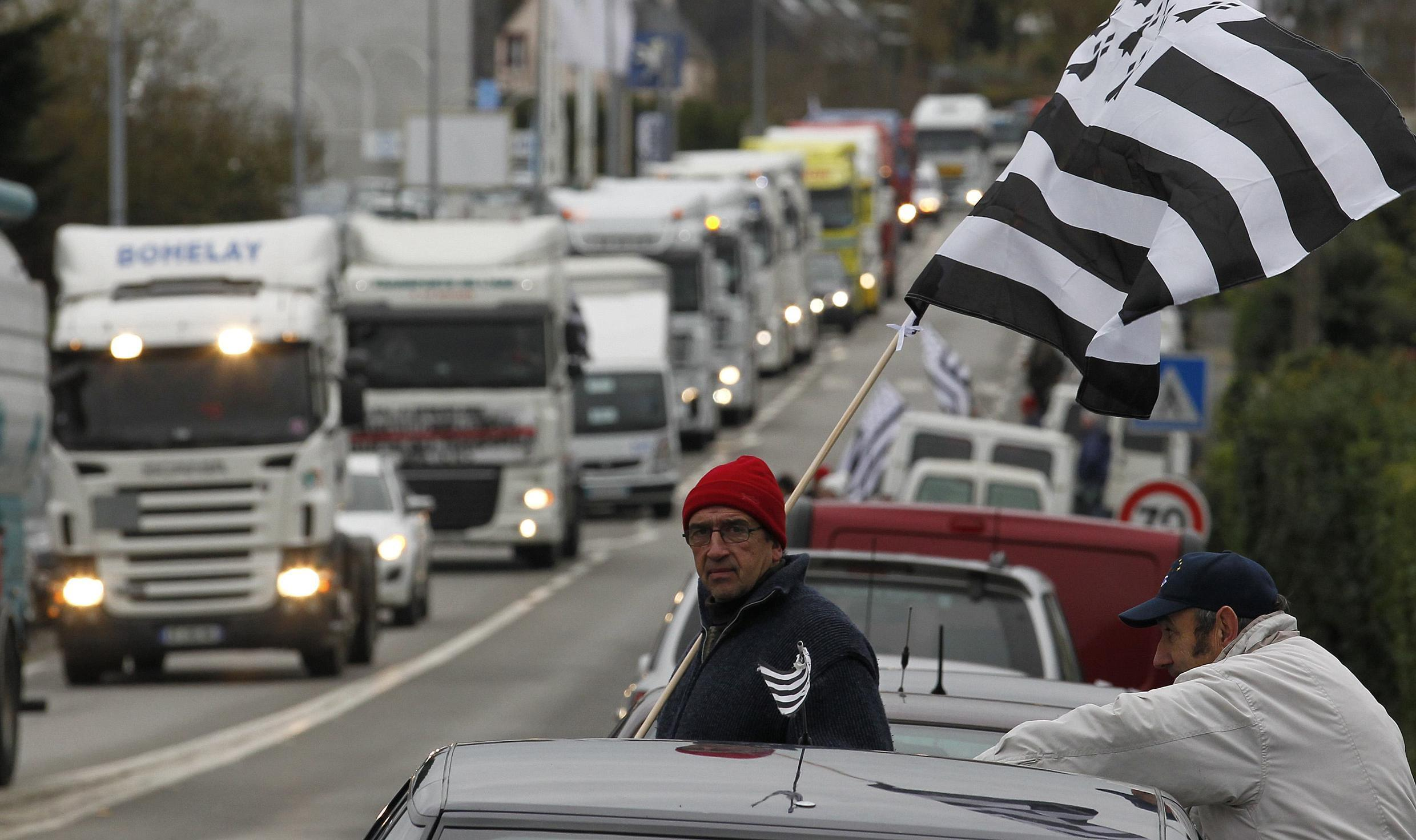 French truck drivers demonstrate in Carhaix, western France.