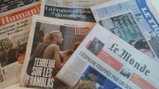Primeiras páginas dos jornais franceses de 18 de agosto de 2017