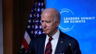 Le président américain Joe Biden, lors du sommet sur le climat par visioconférence à la Maison Blanche, à Washington, le 22 avril 2021.