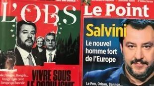 O ministro do Interior italiano Metto Salvini ilustra as capas de revistas francesas que falam da onda populista na Europa.