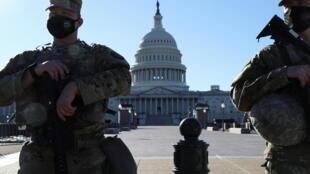 Vệ Binh Quốc Gia canh gác trước Điện Capitol, Washington DC. Hoa Kỳ, Ảnh chụp ngày 03/03/2021.