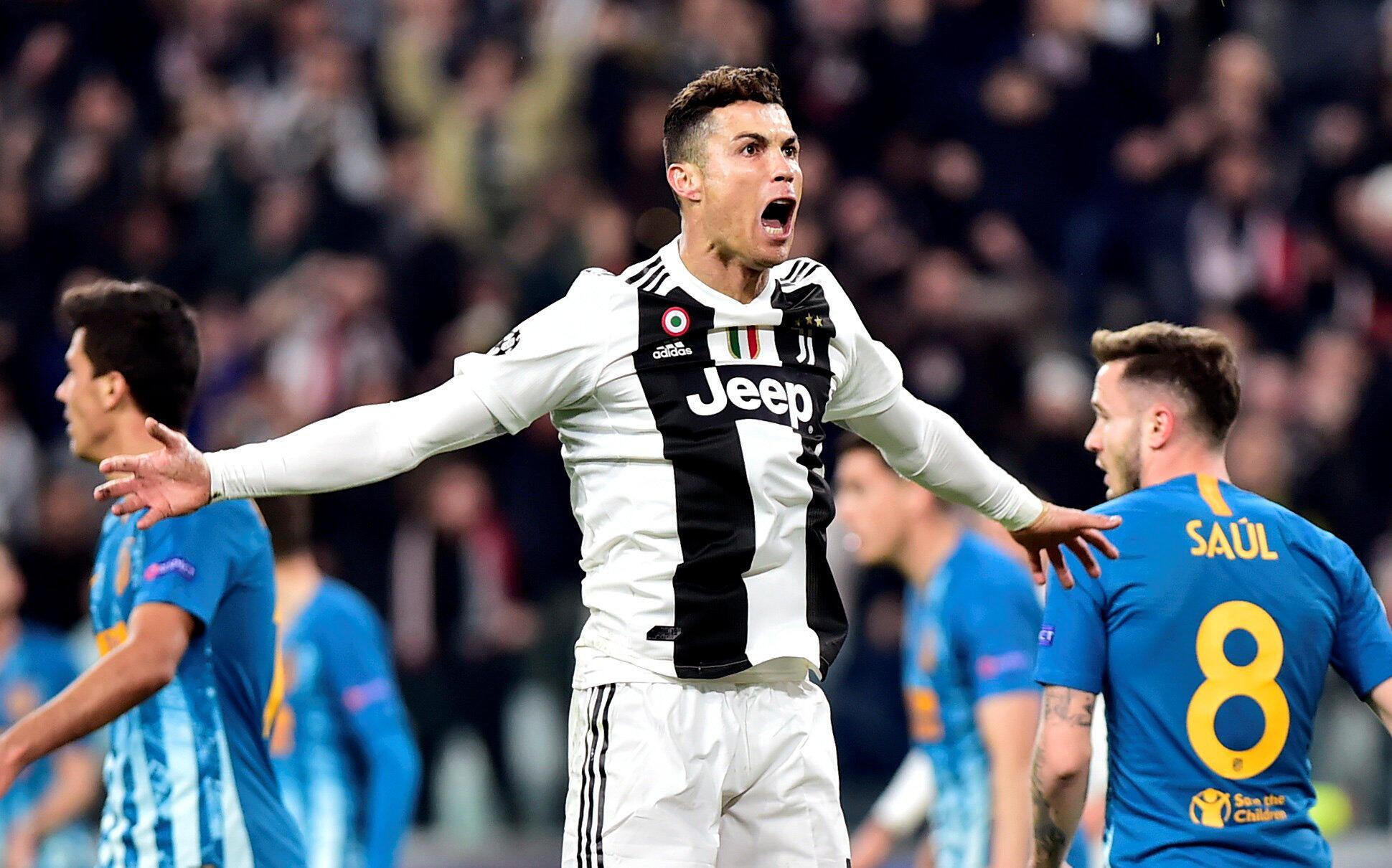 Cristiano Ronaldo yayin murnar jefa kwallo a ragar Atletico Madrid. 12/3/2019.